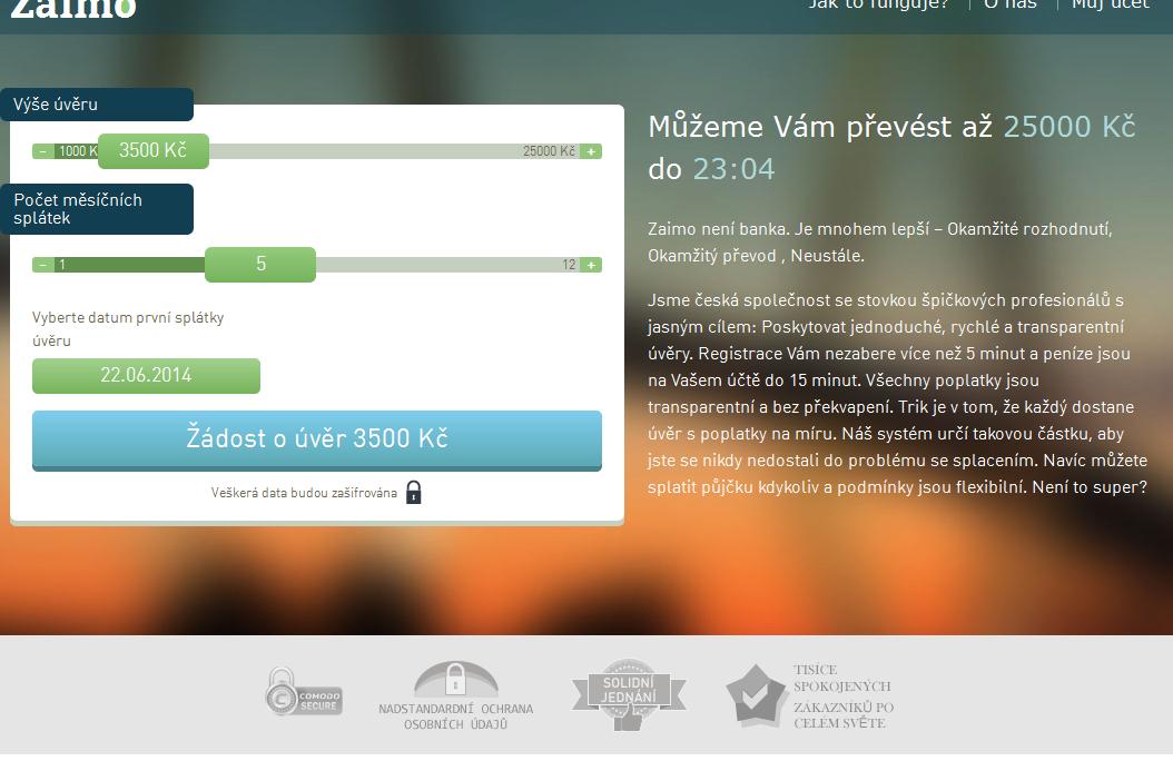 Webpůjčka aneb půjčka přes web od Zaimo